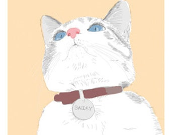 Cat Greeting Card, Blank, Bailey Design No A6010