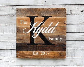 Handmade Family Name and Established Anniversary Sign - Pallet Wood with Monogram Wall Decor