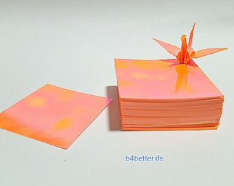 "200 Sheets 1.5"" x 1.5"" Orange Color Chiyogami Yuzen Paper Folding Kit for Origami Cranes ""Tsuru"". (AV paper series). #CRK-93."