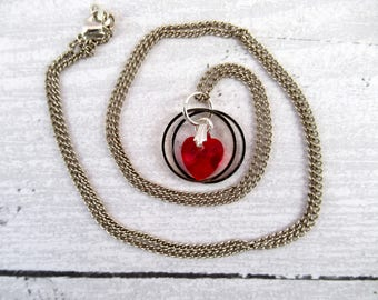 Delicate Outlander Themed Pendant Necklace with Wedding Rings and Red Crystal Heart