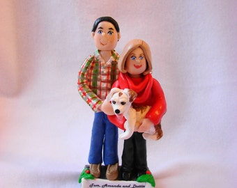 Custom Couple Polymer Clay Ornament, Figurine.  A Hand Crafted Art Sculpture