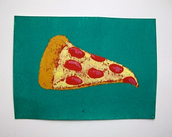 "Pizza Time #76 (ARTIST TRADING CARDS) 2.5"" x 3.5"" by Mike Kraus"