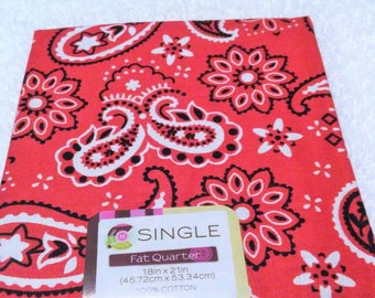 Quilting Fabric, Fat Quarter Single, Craft Supplies, Bandana/Carnation, Red/Black/White, Diy/Sewing Material, Apparel/Sewing Material,