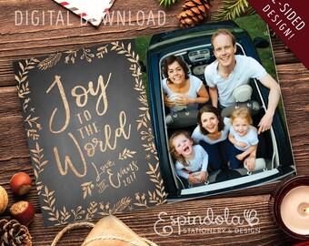 Joy to the World Photocards  |  Printable  |  Foil Look