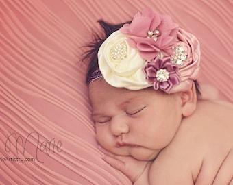 Blush Rose baby headband, Baby headband, girls headband, toddler headband, rosette headband, rhinestone headband, blush headband, newborn
