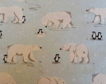 Polar Bear & Penguin on Pale Blue Background, Silver Glitter,100% Cotton Fabric,Quilting,Apparel, Home Decor, Craft Projects, Winter Holiday