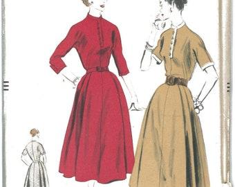 1950's UNCUT Vogue Button Front Kimono Sleeves Women's Dress Sewing Pattern Vogue 7782 Bust 36 RF0045