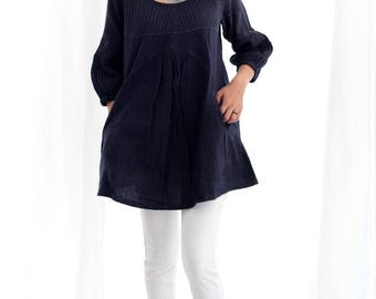 Tunic/ Blouse Tone poem...100% cotton earthy dress with hand stitches detail All size
