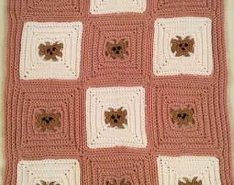 Teddy Bear Blanket , Salmon  Pink