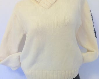 Brooks Brothers 100% Wool sweater cream colored size Large