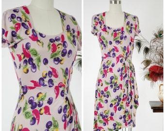 1940s Vintage Dress - Summer 2018 Lookbook -Darling Purple Cherry and Lightweight Rayon Jersey 40s Day Dress