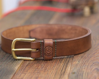Nr. 38 - Leatherbelt / Dark brown / Brass