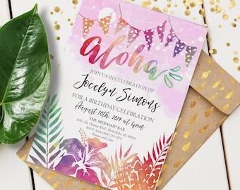 Aloha Invitation | Custom Event Invite | Editable Event Invitation | Tropical Celebration | Hawaiian Event | Instant Download | 5x7