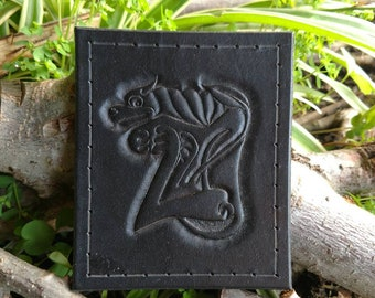 Hand tooled leather hound patch