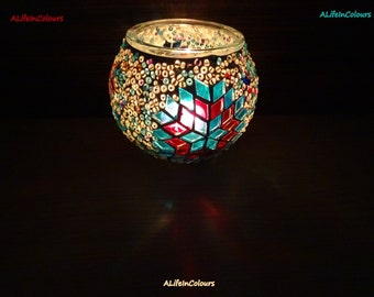 Turkish handmade unique  colourful glass mosaic candle holder, pencil holder.