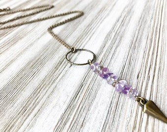 Ametrine Pendant Necklace // Long Necklace // Natural Stone Necklace // Ametrine Stone Necklace // Unique Necklace // Spike Necklace
