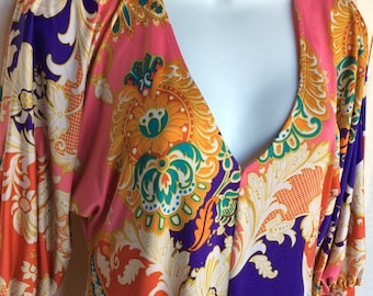 Vintage 80s hippie dress multi color colorful funky made in USA size small mini