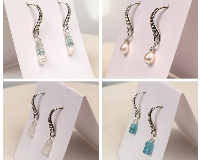 Sterling Silver & gem drop earrings