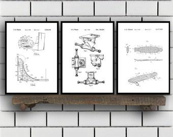 Skateboard Patents Set of 3 Prints, Skateboard Prints, Skateboard Posters, Skateboard Blueprints, Skateboard Art, Skateboard Wall Art