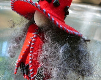 Hematite Protection Witch Peg Doll, Waldorf Wooden Peg Doll, Handmade Miniature
