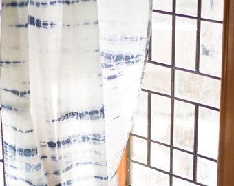 Shibori sheer drapes - curtains - Bohemian curtains - Shibori sheer panels - cotton voile - Indigo shibori - Sold individually - Natural dye
