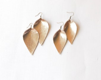 Rose Gold Leather Leaf Earrings, Joanna Gaines Earrings, Metallic Leather Leaf Earrings