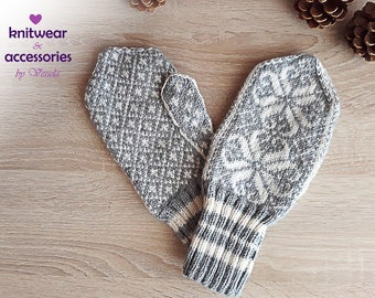 Hand Knitted Mittens Wool Mittens Wool Gloves Nordic Mittens Scandinavian Mittens Winter Gloves Patterned Mittens Made to Order Gift idea