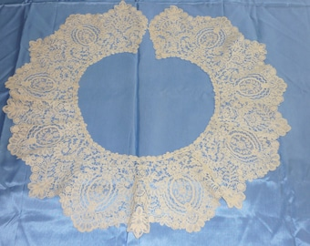 "1 Antique Brussels Duchesse Point De Gaze Lace BERTHA Collar..Lace 7"" Wide by 80"" Perfect Bobbin Lace 1880 era"