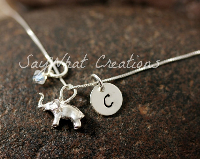 Sterling Silver Elephant Charm Necklace with Mini Hand Stamped Initial and Birthstone