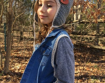 Ear flap beanie with wooden heart button sizes 4yrs-adult