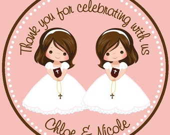 First Communion Favor Tags ( Set of 12) - Twins First Communion Favors / Twin Girls First Communion Favors / Communion Favors for Twin girls