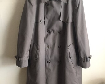 Vintage Christian Dior Monsieur Charcoal Green Size 44R Large Trench Coat