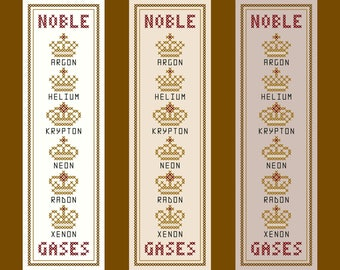 Noble Gases - Original Cross Stitch Bookmark Chart