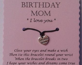 Mom Gift, Mom Wish Bracelet, Charm bracelet, Mom Bracelet, Mom Jewelry, Keepsake, Mom Christmas Gift, Mom Birthday Gift, Gift for Mom