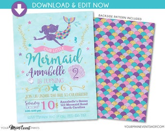 Mermaid Birthday Invitation • Mermaid Invitation • Under The Sea Party Invite • Teal Purple Pink Gold • Edit Yourself Instant Download