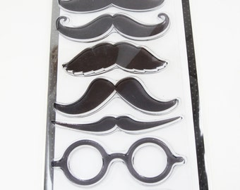 Destash Stamps, Mustache Stamps, Moustache Stamps, Handlebar Mustache, Glasses Stamps, Spectacle Stamps, Mustache & Glasses, Gentleman Stamp