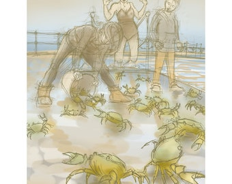 greetings card: crabs at Clevedon Marine Lake - 'The Perils of Half-Term Holiday Swimming'. Open water swimming, funny swimmers