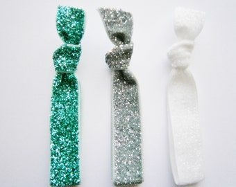 Set of 3 Glitter Hair Tie Package by Crimson Rose Cottage - Turquoise, Silver and White Glitter Hair Ties that Double as Bracelets