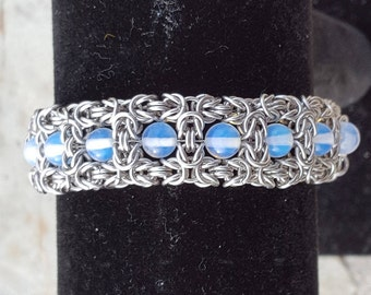 Stainless Byzantine Chainmail Bracelet With Moonstone Beads