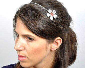 Flower headband, Swarovski crystals, Crystal headband, silver, rose Opal, nickel free, handmade jewelry