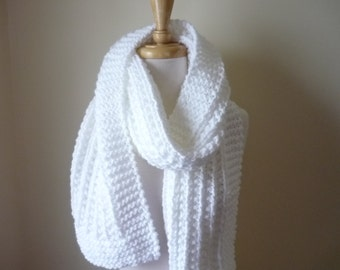 "Extra Long Scarf Knit Scarf Warm Winter Scarf Women's Scarf Classic White 9"" x 72"" - Reversible Pattern - Direct Checkout - Ready to Ship"