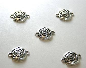 5 Tibetan Silver Rose Connectors  17mm
