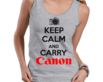 Keep Calm And Carry Canon Tank Top Gift For Photographer Funny Ladies Tank Top