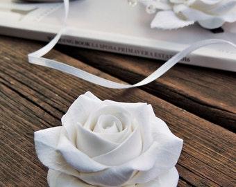 Fermacapelli per sposa, Decorazione per capelli, Fermacapelli con la rosa, Fermacapelli con fiore, Fermacapelli con fiore bianco