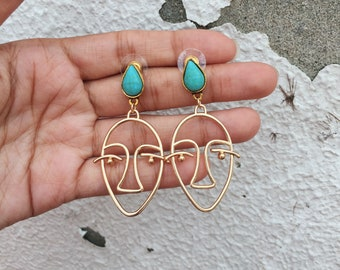 FREE SHIPPING - Face rustic Silhouette gold earrings - silly face - funky face
