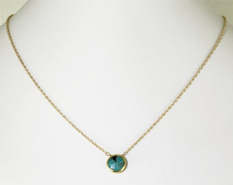 Real Turquoise Necklace 18k Gold Vermeil Adjustable Necklace Genuine Turquoise Jewelry December Birthstone BZ-P-105.2-Turquoise/g