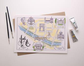 Illustrated Wedding Map - watercolour illustration, bespoke stationery, wedding illustration, calligraphy