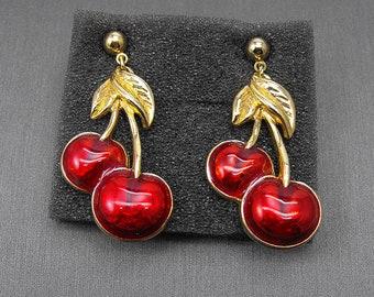 Retro Avon CHEERY CHERRY Earrings 1992 Coloful Red Enamel Pierced Gold Tone