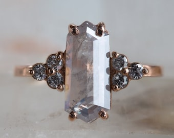 One of a Kind Opalescent Hexagon Diamond Ring