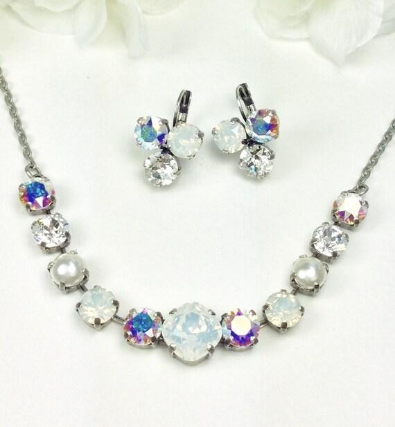 "Swarovski Crystal Necklace 12MM/8.5mm - "" Bridal Whites ""  White Opal, Crystal and Aurora Borealis    Sparkle & Shimmer - FREE SHIPPING"
